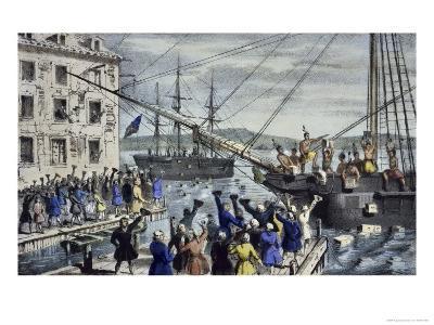 Destruction of Tea at Boston Harbor-Currier & Ives-Giclee Print