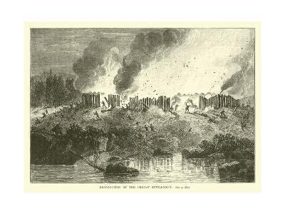 Destruction of the Pequot Settlement--Giclee Print