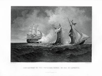 Destruction of the Privateer 'Petrel' by the 'St Lawrence, 28 July 1861, (1862-186)-R Hinshelwood-Giclee Print