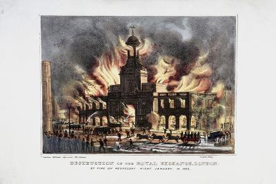 Destruction of the Royal Exchange (2N) Fire, London, 1838-W Clerk-Giclee Print