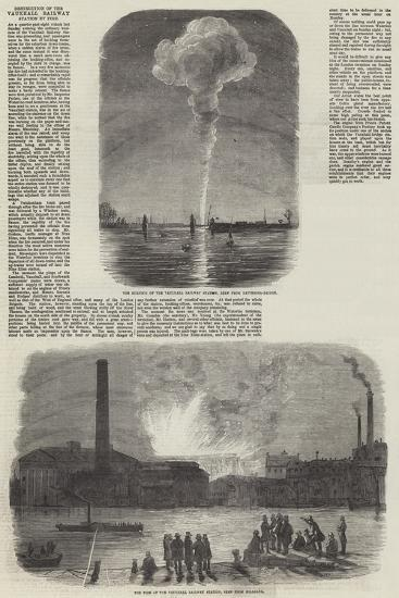 Destruction of the Vauxhall Railway Station by Fire--Giclee Print