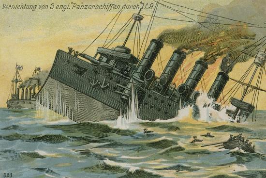 Destruction of Three British Warships by the German Submarine U-9, World War I, 22 September 1914--Giclee Print
