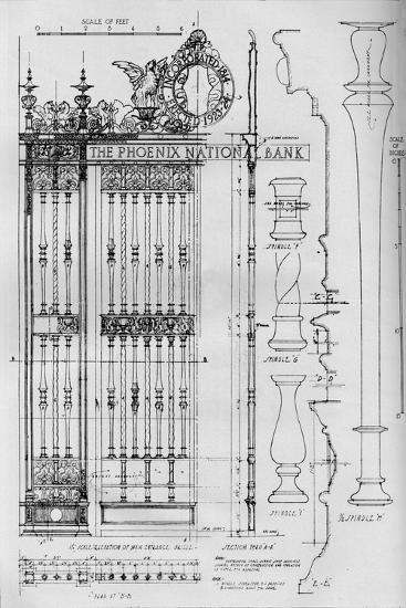 Detail drawing of the main entrance door grille, Phoenix National Bank, 1924-Unknown-Giclee Print
