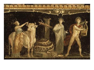 Détail du décor pictural du triclinium de la maison des Vettii; scène cultuelle--Giclee Print