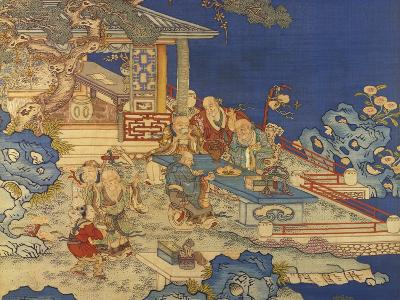 Detail from a Chinese Kesi Coloured Silk Panel Depicting Daoist Immortals--Giclee Print