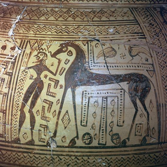 Detail from a Greek geometric period vase, 9th century BC. Artist: Unknown-Unknown-Giclee Print