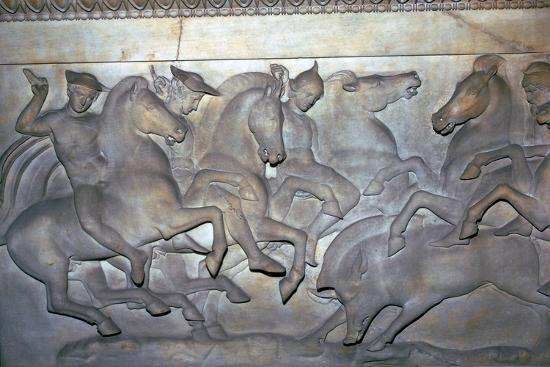 Detail from a Lycian sarcophagus of a boar hunt, 5th century BC. Artist: Unknown-Unknown-Giclee Print