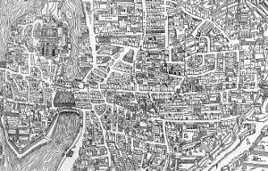 Detail from a Map of Paris in the Reign of Henri II Showing the Quartier Des Ecoles, 1552
