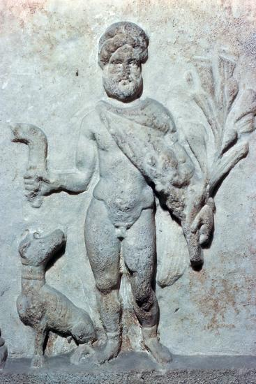 Detail from a stone plinth showing Silvanus, 1st century BC. Artist: Unknown-Unknown-Giclee Print
