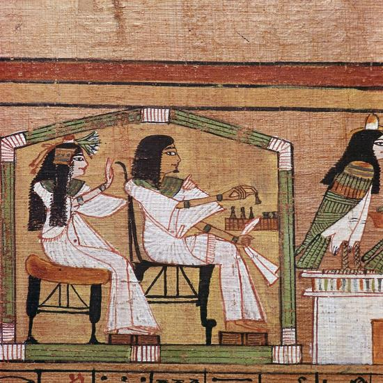 Detail from an Egyptian papyrus showing a game of draughts. Artist: Unknown-Unknown-Giclee Print