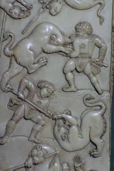 Detail from an ivory diptych of men fighting lions, 6th century. Artist: Unknown-Unknown-Giclee Print