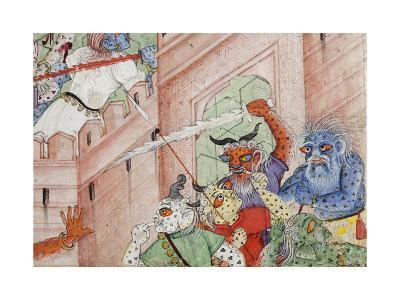 Detail from Krishna Cleaves the Demon Narakasura with His Discus, C.1585-90--Giclee Print
