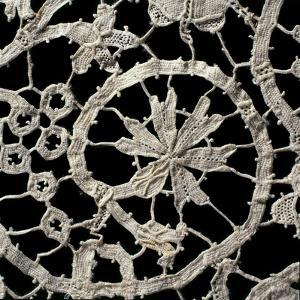 Detail from Needle Lace Hem with Floral Motifs