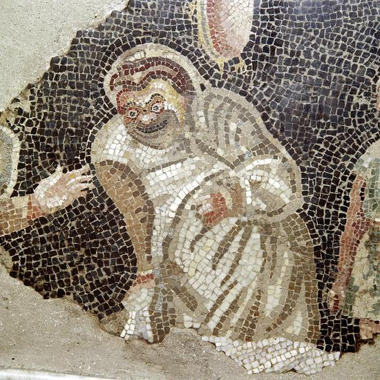 Detail from Roman mosaic of an actor wearing a comic mask, Pompeii, Italy. Artist: Unknown-Unknown-Giclee Print