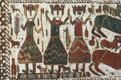 Detail from Skogchurch Tapestry Depicting Norse Gods Odin, Thor and Freyr, Sweden, 12th Century--Giclee Print