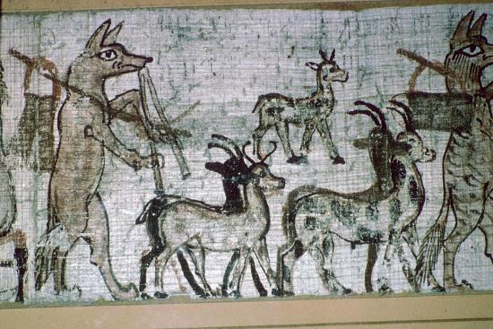 Detail from the Egyptian 'satirical papyrus' of a fox playing the pipes and leading goats-Unknown-Giclee Print