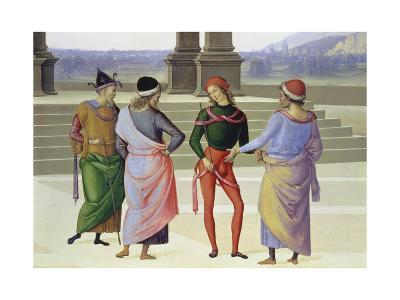 Detail From: the Marriage of the Virgin: Four Men, C. 1500-Pietro Vanucci Perugino-Giclee Print