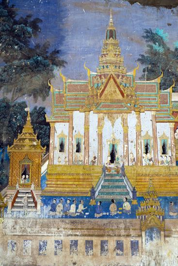 Detail from the Reamker Murals (Khmer Version of the Ramayana), Royal Palace, Phnom Penh, Cambodia-Alex Robinson-Photographic Print