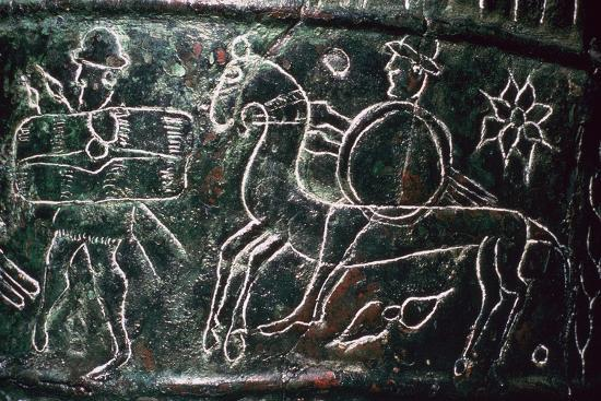 Detail of a bronze situala with Etruscan soldiers, 5th century BC. Artist: Unknown-Unknown-Giclee Print