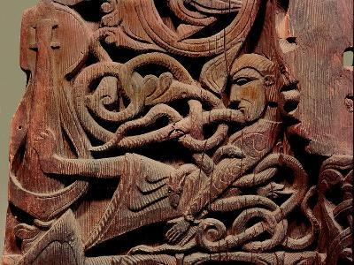 Detail of a Carving from a Stave Church Portal Illustrating the Story of Sigurd--Giclee Print