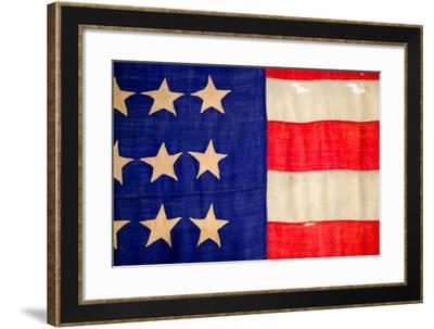 Detail of a Civil War flag in Drummer Boy Museum in historic Andersonville Georgia--Framed Photographic Print