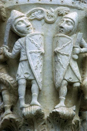 Detail of a column showing Norman Soldiers, 12th century. Artist: Unknown-Unknown-Giclee Print