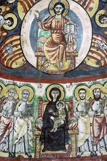 Detail of a coptic wall painting showing Christ enthroned, 6th century. Artist: Unknown-Unknown-Photographic Print