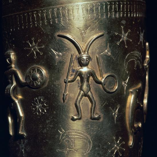 Detail of a copy of a Celtic gold drinking horn, 3rd century. Artist: Unknown-Unknown-Giclee Print