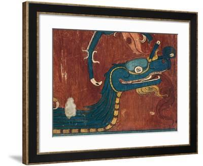 Detail of a Fresco Depicting the Head of a Snake. from the Archaeological Site in Cacaxtla--Framed Giclee Print