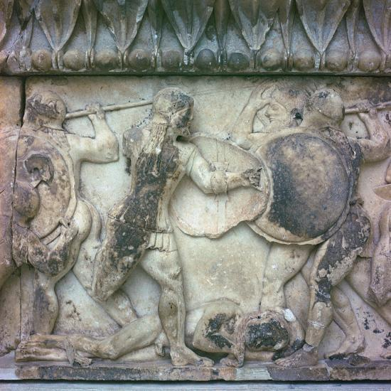 Detail of a frieze on the Treasury of the Siphnians, 6th century BC. Artist: Unknown-Unknown-Giclee Print