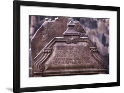 Detail of a Gravestone with Hebrew Inscriptions in the Old Jewish Cemetery in the Old Town--Framed Photographic Print