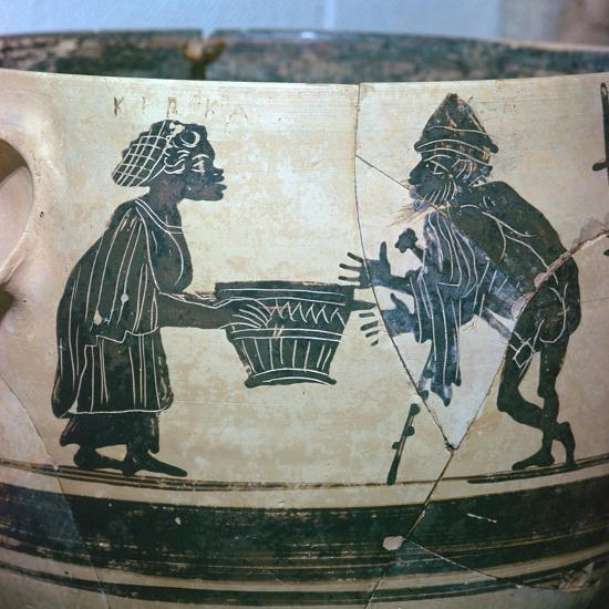 Detail of a Greek vase showing Odysseus and Circe, 5th century BC. Artist: Unknown-Unknown-Giclee Print