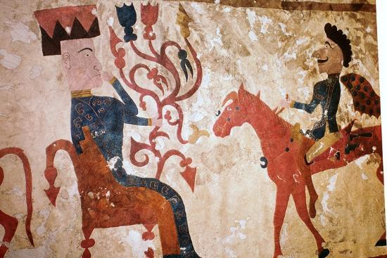 Detail of a horseman and seated man from felt Scythian wall-hanging. Artist: Unknown-Unknown-Giclee Print
