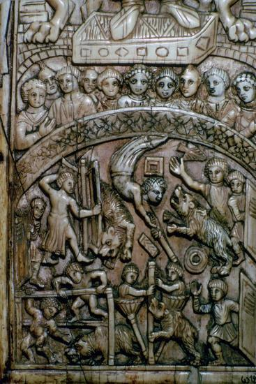 Detail of a leaf of a Byzantine ivory diptych showing men and bears at the circus.-Unknown-Giclee Print