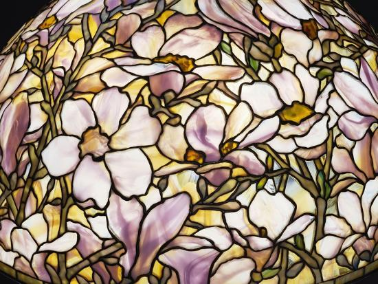 Detail of a 'Magnolia' Leaded Glass and Bronze Floor Lamp by Tiffany Studios--Giclee Print