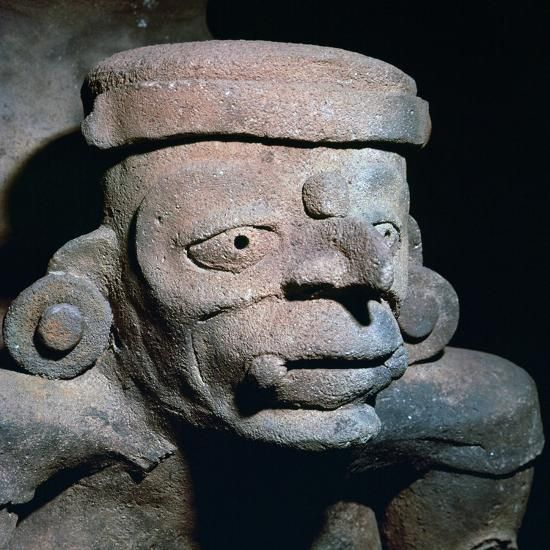 Detail of a Mayan pottery incense burner, 8th century-Unknown-Giclee Print