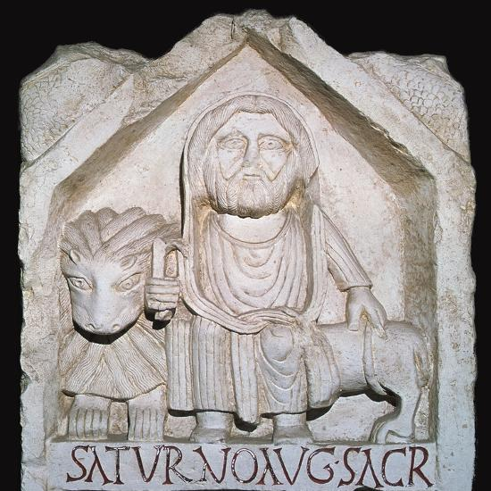 Detail of a Neo-Punic relief dedicated to the god Saturn showing a priest-Unknown-Giclee Print