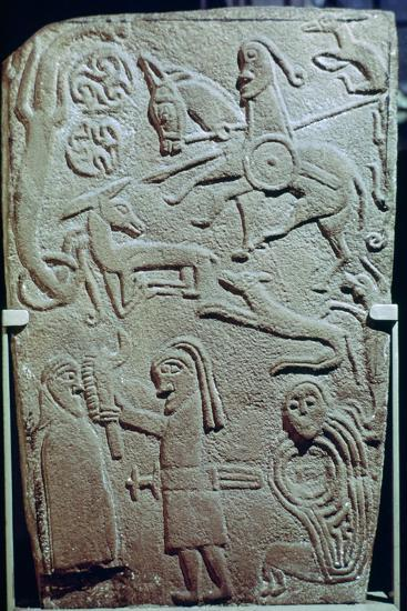 Detail of a Pictish Stone with biblical scenes, 9th century. Artist: Unknown-Unknown-Giclee Print