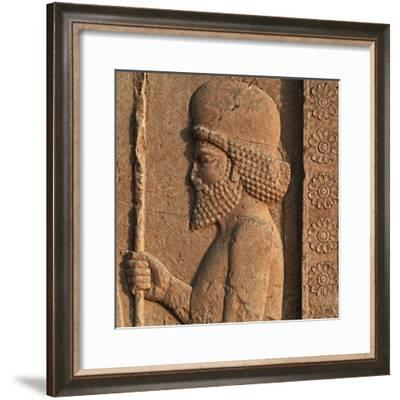 Detail of a Relief in Persepolis, Showing a Mede Soldier-Babak Tafreshi-Framed Photographic Print