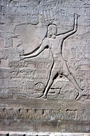 Detail of a relief of Pharaoh smiting his enemies, Temple of Khnum, Ptolemaic & Roman Periods-Unknown-Giclee Print