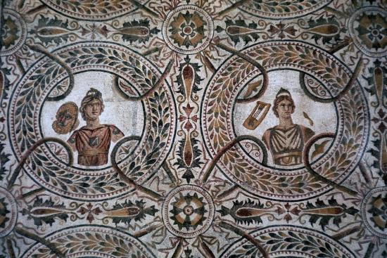 Detail of a Roman floor mosaic of the nine Muses, 3rd century-Unknown-Giclee Print