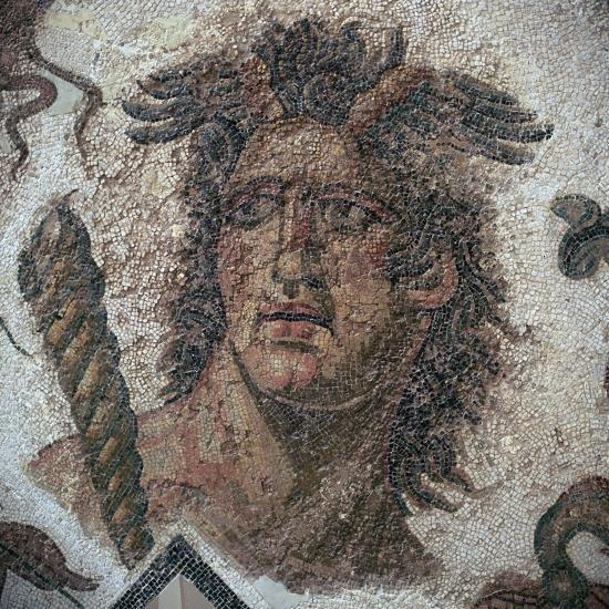 Detail of a Roman mosaic showing one of the four winds, 3rd century. Artist: Unknown-Unknown-Giclee Print
