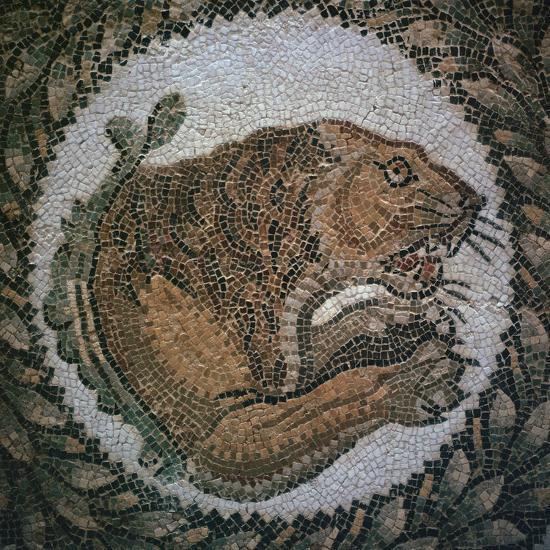 Detail of a Roman mosaic showing the head of a lion, 4th century. Artist: Unknown-Unknown-Giclee Print