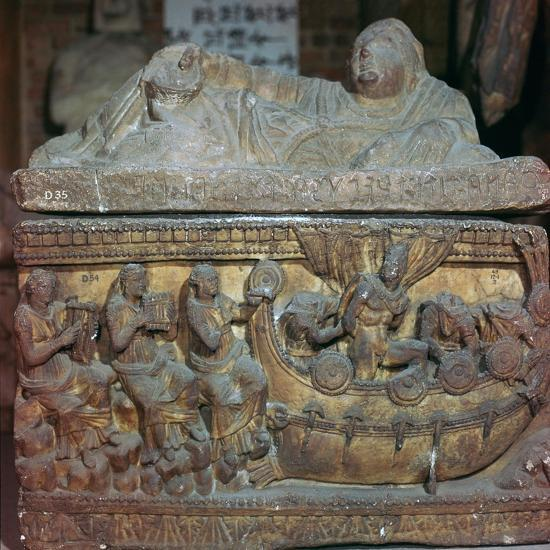 Detail of a sarcophagus showing Odysseus and the sirens-Unknown-Giclee Print