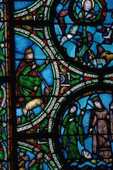 Detail of a stained glass window showing the story of Moses, 12th century. Artist: Unknown-Unknown-Giclee Print