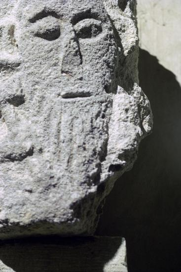 Detail of a stone head in Penmon Priory. Artist: Unknown-Unknown-Giclee Print