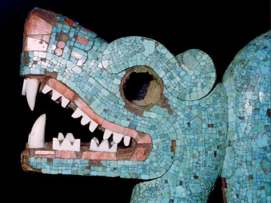 Detail of a turquoise mosaic of a double-headed serpent, Aztec/Mixtec, Mexico, 15th-16th century-Unknown-Giclee Print