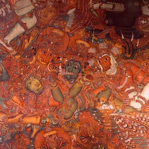 Detail of a Wall Painting in the Rajah's Palace, Cochin, Which Illustrates Scenes from the Ramayana