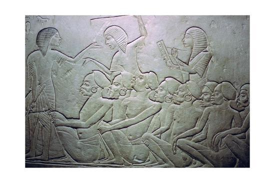 Detail of an Egyptian stele showing an overseer, slaves and scribe. Artist: Unknown-Unknown-Giclee Print