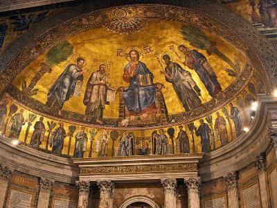 Detail of Apse Mosaic with Portraits of Popes, Basilica Di San Paolo Fuori Le Mura, Rome, Italy-Miva Stock-Photographic Print